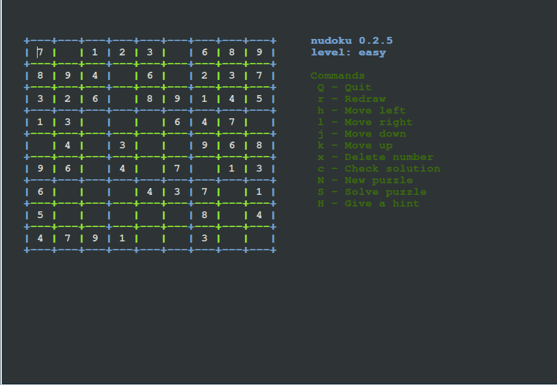 Nudoku-Linux-Console-Game