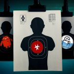 44405613 - shooting targets hanging on a grungy background